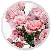 Pink Rose Bouquet Round Beach Towel