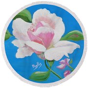 Round Beach Towel featuring the painting Pink Rose In Paint by Phyllis Kaltenbach