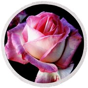 Pink Rose  Round Beach Towel by Leanne Seymour