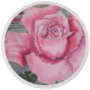 Pink Rose Round Beach Towel by Pamela  Meredith