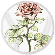 Pink Rose Round Beach Towel by Teresa White