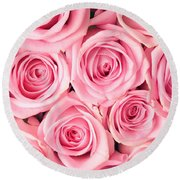 Pink Roses Round Beach Towel by Munir Alawi