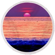 Pink Sun Round Beach Towel by Nina Ficur Feenan