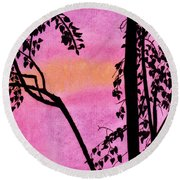 Round Beach Towel featuring the drawing Pink Sky Sunset by D Hackett