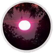 Pink Sunrise Breast Cancer Awareness Round Beach Towel