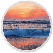 Pink Sunrise Panorama Round Beach Towel by Kaye Menner