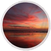 Ocean Sunset Reflected  Round Beach Towel