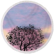 Round Beach Towel featuring the drawing Pink Sunset by D Hackett