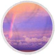 Pink Sunset Rainbow Round Beach Towel