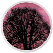 Round Beach Towel featuring the drawing Pink Sunset Tree by D Hackett