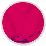 Round Beach Towel featuring the mixed media Pink Tank by Michelle Dallocchio