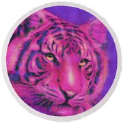 Round Beach Towel featuring the digital art Pink Tiger by Jane Schnetlage