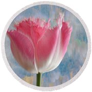 Pink Tulip Round Beach Towel by Mark Greenberg