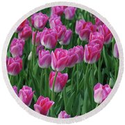 Round Beach Towel featuring the photograph Pink Tulips 2 by Allen Beatty