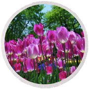 Round Beach Towel featuring the photograph Pink Tulips by Allen Beatty