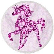 Pink Unicorn - Animal Art Round Beach Towel