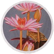 Pink Water Lilies Round Beach Towel by Marna Edwards Flavell