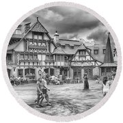 Round Beach Towel featuring the photograph Pinocchio's Village Haus by Howard Salmon