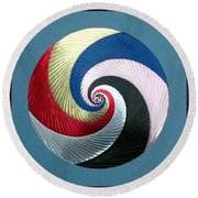 Round Beach Towel featuring the mixed media Pinwheel by Ron Davidson