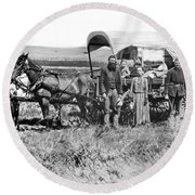 Pioneer Family And Wagon Round Beach Towel
