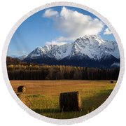 Pioneer Hay Fields Round Beach Towel