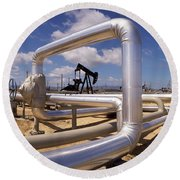 Pipelines On A Landscape, Taft, Kern Round Beach Towel