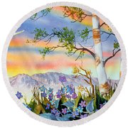 Round Beach Towel featuring the painting Piper Cub Over Sleeping Lady by Teresa Ascone