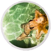 Round Beach Towel featuring the photograph Wet Piper Precious No73-5824 by Amyn Nasser