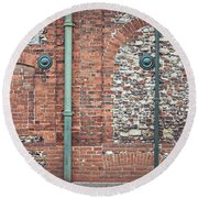 Pipes And Wall Round Beach Towel