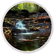 Pipestem Falls Round Beach Towel