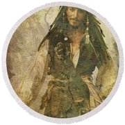 Pirate Johnny Depp - Steampunk Round Beach Towel by Absinthe Art By Michelle LeAnn Scott
