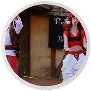 Pirate Shantyman And Bonnie Lass Round Beach Towel by Rodney Lee Williams