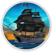 Pirate Ship At Sunset Round Beach Towel by Glenn Holbrook