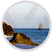 Pirate Ship In Cabo Round Beach Towel