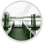 Pirate's Cove Pier In Monochrome Round Beach Towel