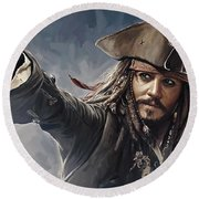 Pirates Of The Caribbean Johnny Depp Artwork 2 Round Beach Towel by Sheraz A