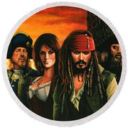 Pirates Of The Caribbean  Round Beach Towel