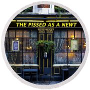 Pissed As A Newt Pub  Round Beach Towel by David Pyatt