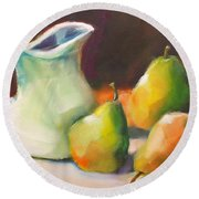Round Beach Towel featuring the painting Pitcher And Pears by Michelle Abrams