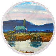 Round Beach Towel featuring the painting Pittown by Pamela  Meredith