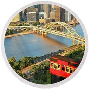 Pittsburgh Duquesne Incline Round Beach Towel by Adam Jewell