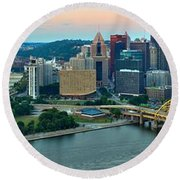 Pittsburgh Panorama At Dusk Round Beach Towel