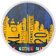 Pittsburgh Skyline License Plate Art Round Beach Towel