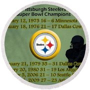 Pittsburgh Steelers Super Bowl Wins Round Beach Towel