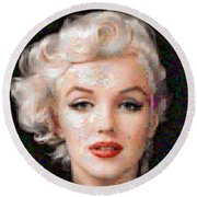 Pixelated Marilyn Round Beach Towel