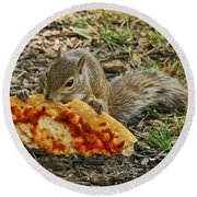 Pizza For  Lunch Round Beach Towel by Mary Carol Story