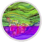 Pizza In Vernazza Round Beach Towel