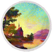 Beautiful Church, Place Of Welcome Round Beach Towel