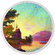 Round Beach Towel featuring the painting Beautiful Church, Place Of Welcome by Jane Small