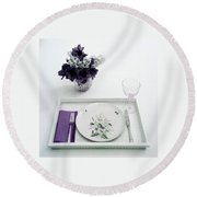 Place Setting With With Flowers Round Beach Towel